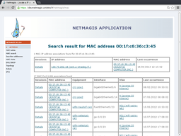 Result of MAC address search